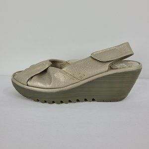 Fly London Silver Leather Knot Sandals Size 9